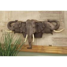 Three Elephant Head Wall Decor Pachyderm African Safari Trunk and Tusk