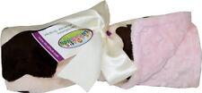 Minky Blanket - Multi-Purpose Blanket - Cream & Brown Cow with Pink or Blue