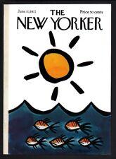 New Yorker magazine COVER ONLY  June 10 1972-Reilly art-Fish ocean sun