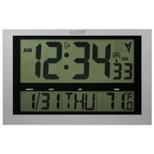 La Crosse Technology Digital Atomic Wall Clock Temperature Non-Ticking Indoor