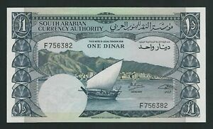 YEMEN DEMOCRATIC REPUBLIC  1 DINARS 1965  P-3b  UNC