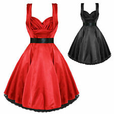 Hearts and Roses London Satin Vintage 1950s Retro Pinup Party Prom Swing Dress
