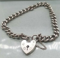 Beautiful 925 Sterling Silver Vintage Heavy Curb Padlock Bracelet 7inches £64.99