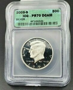 2003 S Silver KENNEDY HALF DOLLAR ICG PR70 DCAM Deep Cameo Proof Gem