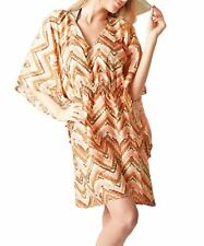 Lindsay Phillips Beach Cover Up Stretch waist Seaside Brown / Tan / Coral NEW