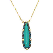 TURQUOISE CENTER TEAR DROP NECKLACE PENDANT LAB TANZANITE / 925 STERLING SILVER