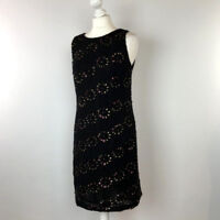 Monsoon Floral Dress UK Size 12 Black Shift Womens Beading and Sequins