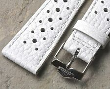 White 22mm Heuer Monaco Heuer Silverstone strap vintage NOS with Heuer buckle