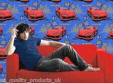 DeBona - Papier peint, moteur sport , rouge/bleu, Cars DRAPEAUX enfants