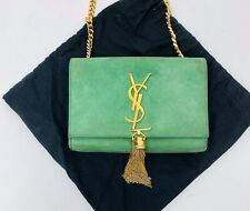 AS IS Saint Laurent Green Suede Leather Gold Hardware Small Kate Tassel Bag