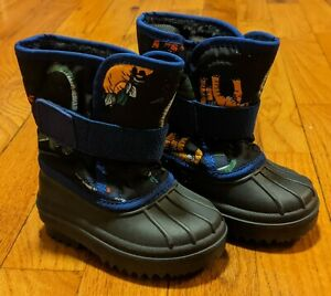 NWOB Children's Place Toddler Boys Navy Blue Dinosaur Snow Boots, Size 4