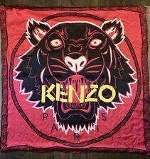 Kenzo Paris 100% Silk Tiger Red Scarf Wrap Large Women