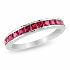 Amour Sterling Silver Square-cut Created Ruby Eternity Ring