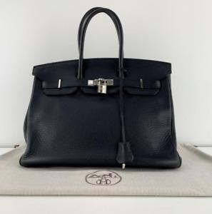 Hermes Birkin 35 Clemence Leather with Palladium Hardware in Black new