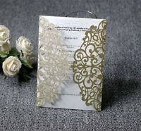 50/100 Glitter Wedding Invitation Personalized Printing Cards Kit Laser Cut Card