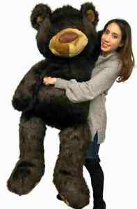 Big Plush Giant 5ft Teddy Bear 5 Feet Tall 60 Inches Brown Soft Made in the USA