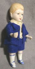 """Vintage 4.25"""" Bisque Doll - Boy in Blue Suit - Germany"""