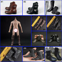 "1/6 Male Boots Shoes Combat High Tube boots Black/Brown 12"" Soldier Body Figure"