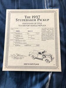 Danbury Mint 1937 STUDEBAKER PICK UP Coupe Express Red Certificate Of Title