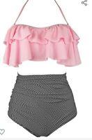 Women's Retro Boho Flounce Falbala High Waiist Bikini Set Chic Swimsuit