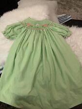 Amanda Remembered Smocked dress Size 3 turtles green white gingham pink ric rac