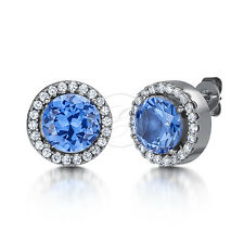 Ladie's Earrings Titanium Blue Stud CZ Earrings
