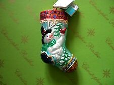 Christopher Radko Feathered Friends Stocking Glass Ornament