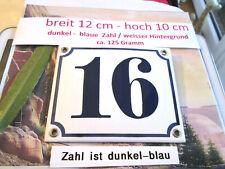 Hausnummer Nr. 16 dunkel-blaue Zahl auf weißem Hintergrund 12 cm x 10 cm Emaille