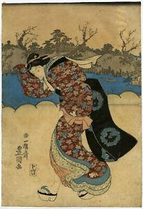 Japanese Antique Print-GEISHA-HANKERCHIEF-MOUTH-JAPAN-Toyokuni-c.1843