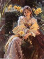 ZOPT389 comely girl portrait & flowers hand painted oil painting art on canvas