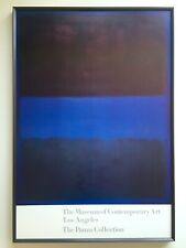 """MARK ROTHKO RARE 1988 LITHO PRINT LRG FRAMED MUSEUM POSTER """"BROWN ON BLUE"""" 1953"""