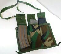 US Military Army Bandoleer 6 Mag Magazine Pouch Molle II Woodland Camo USGI