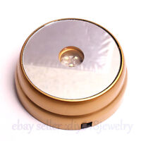 New 3D Round Crystal Glass Paperweight Stand Base with 3 LED White Light -Golden
