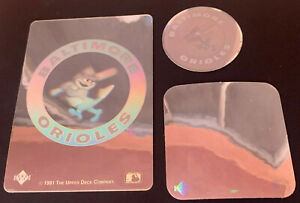 1989 1990 1991 Upper Deck Hologram Sticker Baltimore Orioles Retro Logo Lot x3