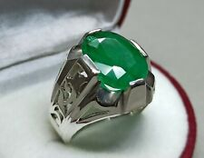 Natural Emerald Ring Sterling Silver 925 Green Emerald Handmade Zamurd Ring
