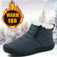 Men's Outdoor Winter Snow Boots Warm Fur Lined Walking Slip on Ankle Shoes