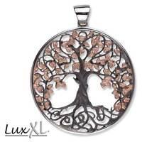 Echt LuxXL Lebensbaum Anhänger 925er Silber Schwarz Rhodiniert Vergoldet - Neu