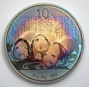 Scarce Rare Genuine 2013 China Pure Silver Panda 10 Yuan Deep Rainbow Toning UNC