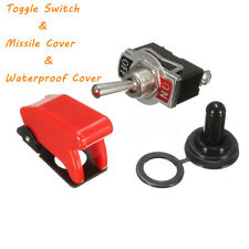 Heavy Duty ON/OFF SPST Toggle Switch Flick + Missile Cover + Waterproof Boot KIT