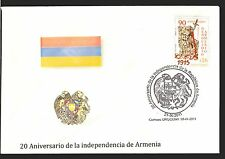 20TH ANNIVERSARY INDEPENDENCE OF ARMENIA EAGLE LION URUGUAY SPECIAL CANCEL COVER