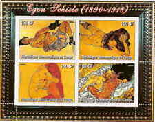 Egon Schiele Classic Art on Stamps - 4 Stamp  Sheet 9814