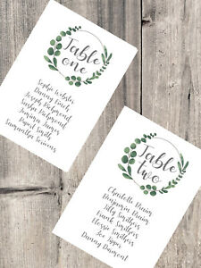 Handmade Personalised Wedding Table Plan Cards Individual Header Card Eucalyptus