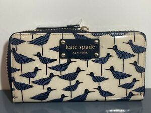 NEW Kate Spade Patent Leather Daycation Neda Bird Zip Plaque Logo Around Wallet