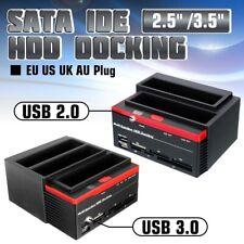 """2.5""""/3.5"""" USB 2.0 to 2 SATA 1 IDE HDD Hard Disk Docking Station Card Reader Slot"""