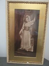 """Antique Vintage Wood Glass Print Picture Frame 18"""" x 29"""" Young Girl Posing"""
