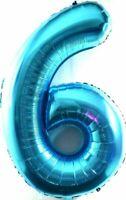 XXL 1 Mètre Énorme Helium Nombre 6 Ballon Feuille Bébé Bleu Anniversaire 100cm