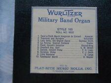 New ListingWurlitzer 165 Band Organ Roll 6522 000004F9