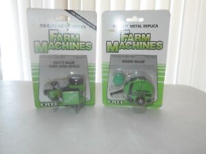 Lot of 2 ERTL Farm Machines 1/64 Round Baler & Deutz Allis 7085 with Duals