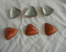 """6PCS Non stick Mini 3""""  Fluted triangle shell tart golden pan Pastry mould pan"""
