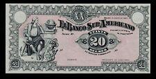 ECUADOR BANCO SUR  AMERICANO 20 SUCRES 1920 D  PICK # S253 UNC-.